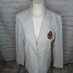 Simonton White/Navy Pin-Stripe Crest Blazer Sz 10